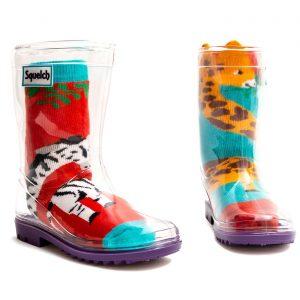 Squelch Wellies Giraffe and Zebra Sock
