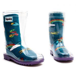 Squelch Wellies Rainbow Bugs Sock